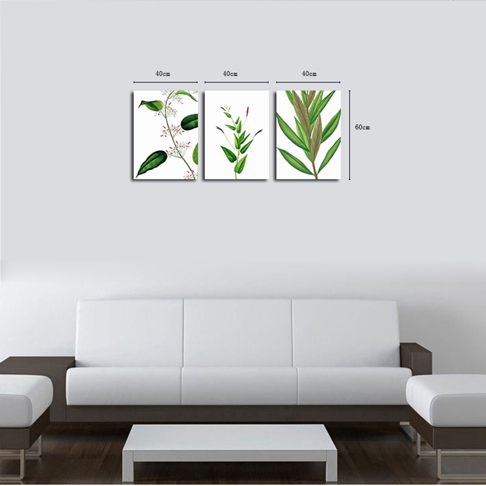 QiaoJiaHuaYuan No Frame Canvas Living Room Sofa Background Decoration Hangs a Small Fresh Plant Leaf