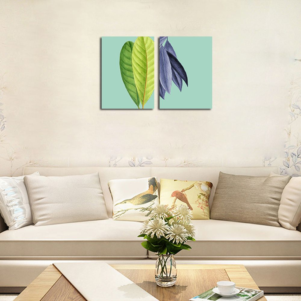 QiaoJiaHuaYuan No Frame Canvas Living Room Sanlian Painting Simple Natural Leaf Decoration Hanging Painting