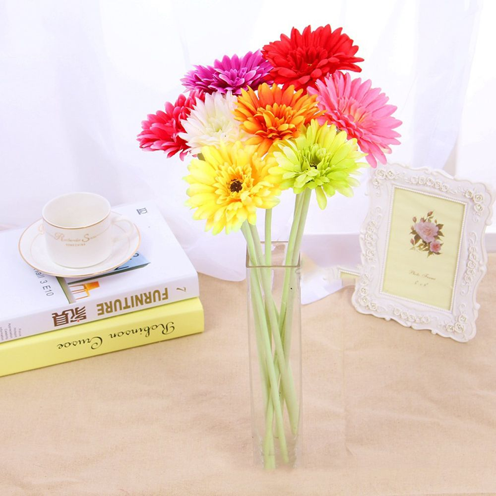 8 PCS Artificial Gerbera Daisy Heads Silk Flower Home Wedding Decor Bouquet Party Home Decoration