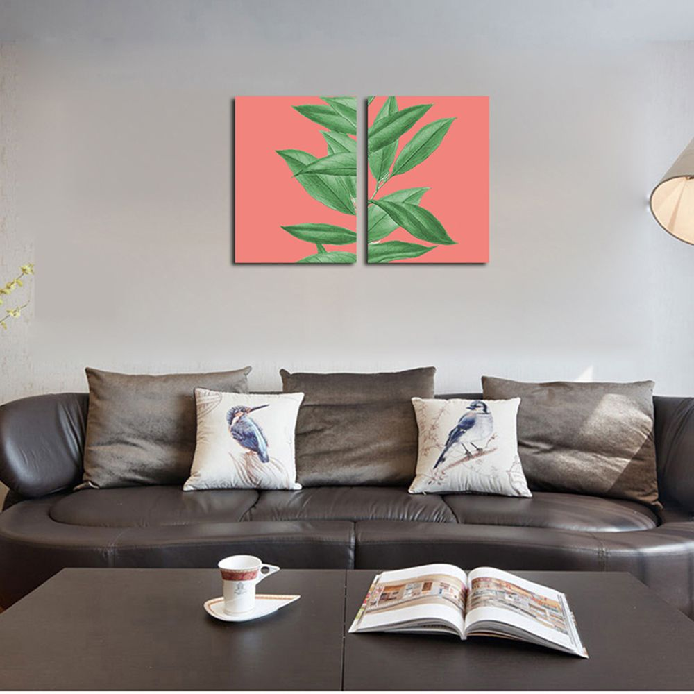 QiaoJiaHuaYuan  No Frame Canvas of the Nordic Living Room Sofa Background Two Sets of Painting Plants Clear New Wind Lea