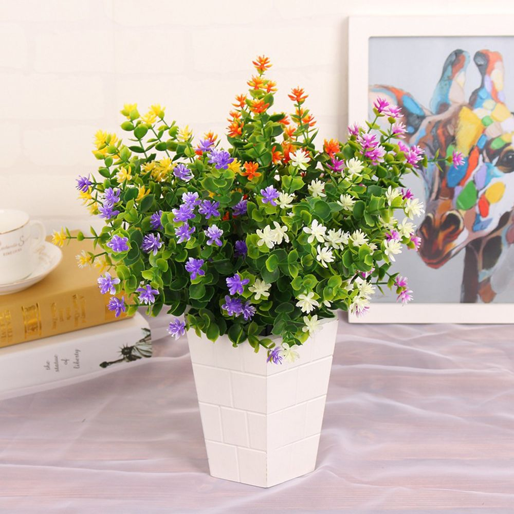 4 PCS Artificial Green Plants Grass Fake Floral Plastic Flowers For Office Home Wedding Table Decoration