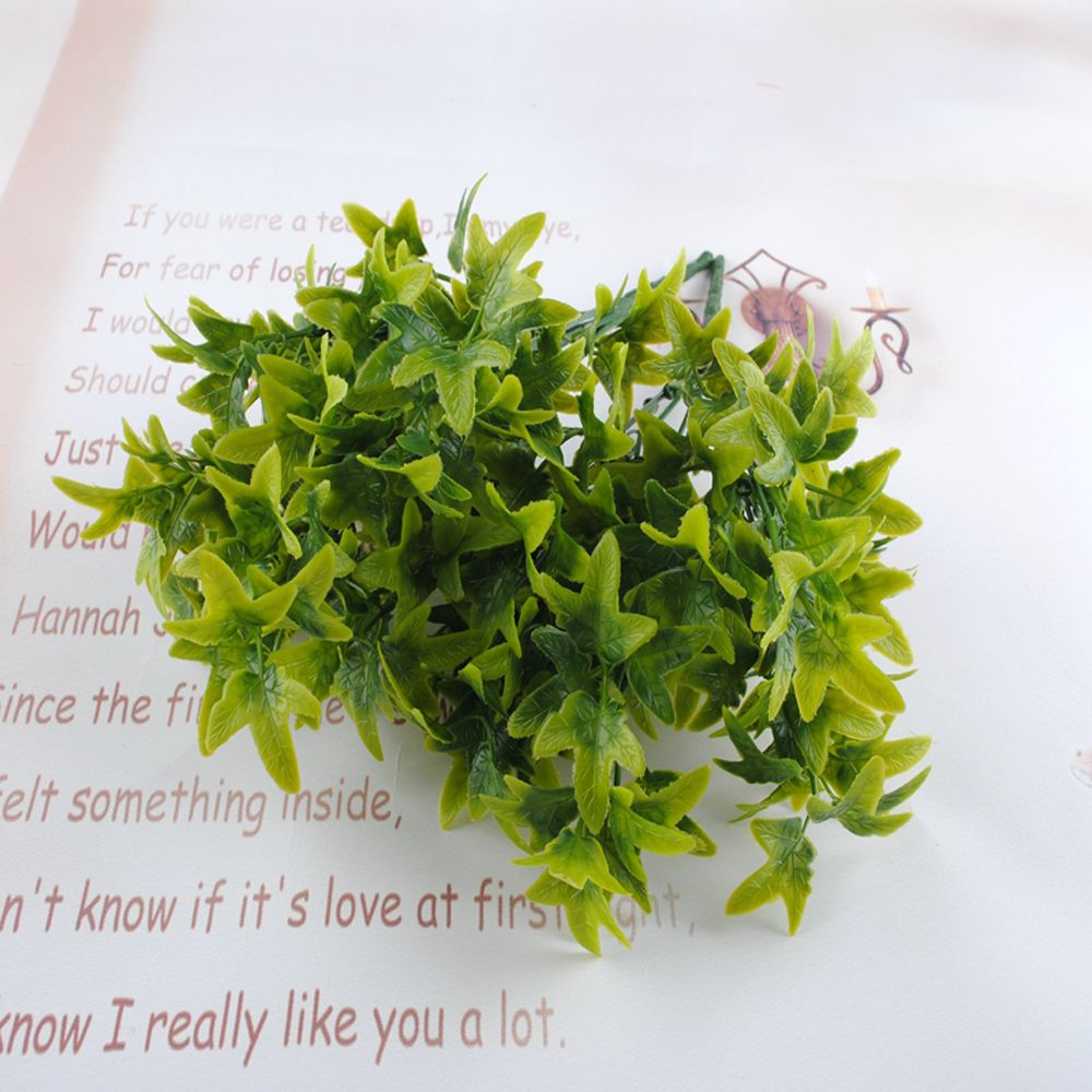 5 Pcs Artificial Leaves Branches Simulation Plant Bouquet Plastic Home Decoration Green Fake Grass