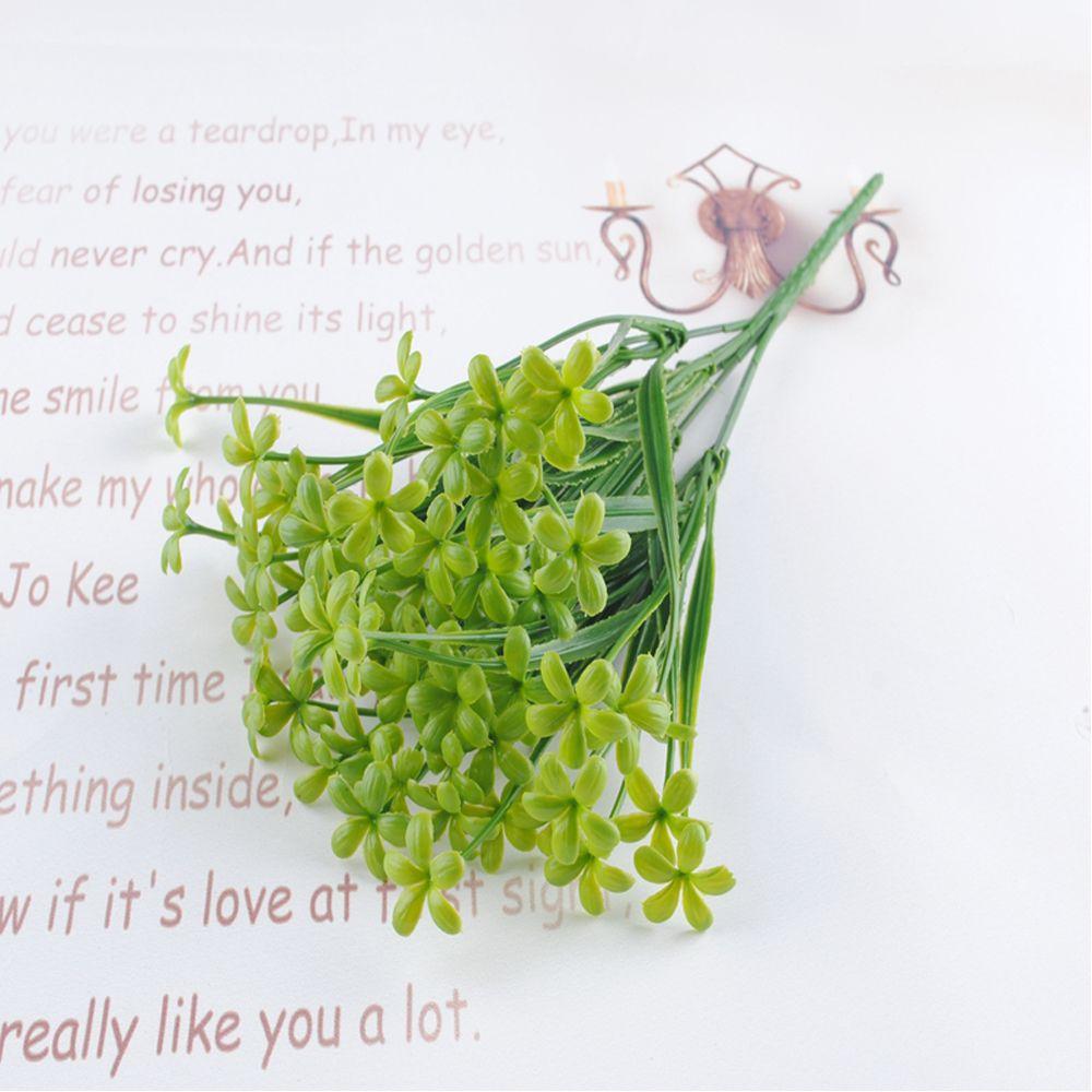 5 Pcs Simulation Milan Grass Artificial Green Plants Flower For Home Outdoor Garden Wedding Decoration