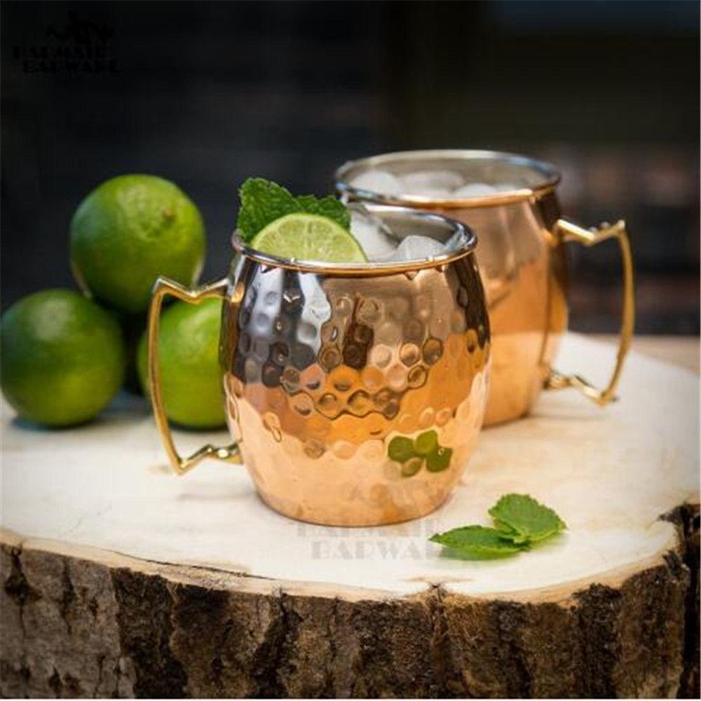 550ML 304 Stainless Steel Drum Type Moscow Mug Hammered Copper Plated Beer Mug Beer Cup Water Glass Drinkware