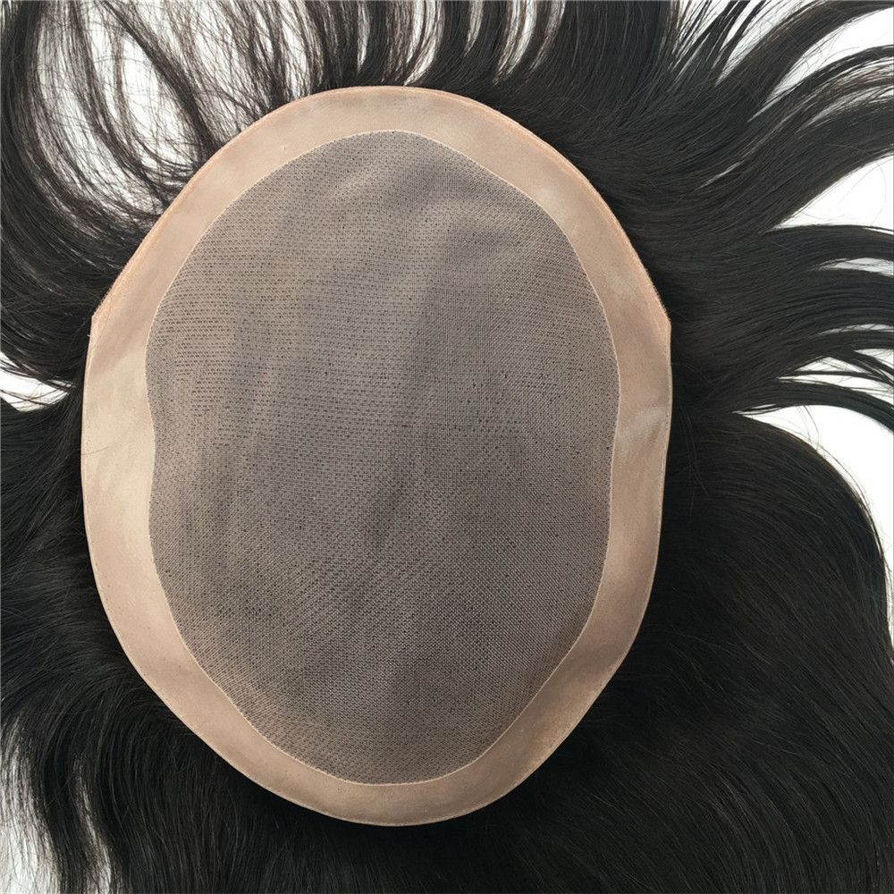 European Virgin Human Hair Toupee for Men with Soft Thin Super Swiss Lace 8 inch