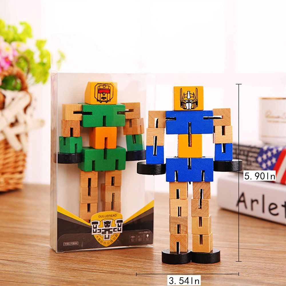 Wooden Transformable Robots Funny and Creative Educational Toys for Girls and Boys Kids Brain Teaser Puzzle