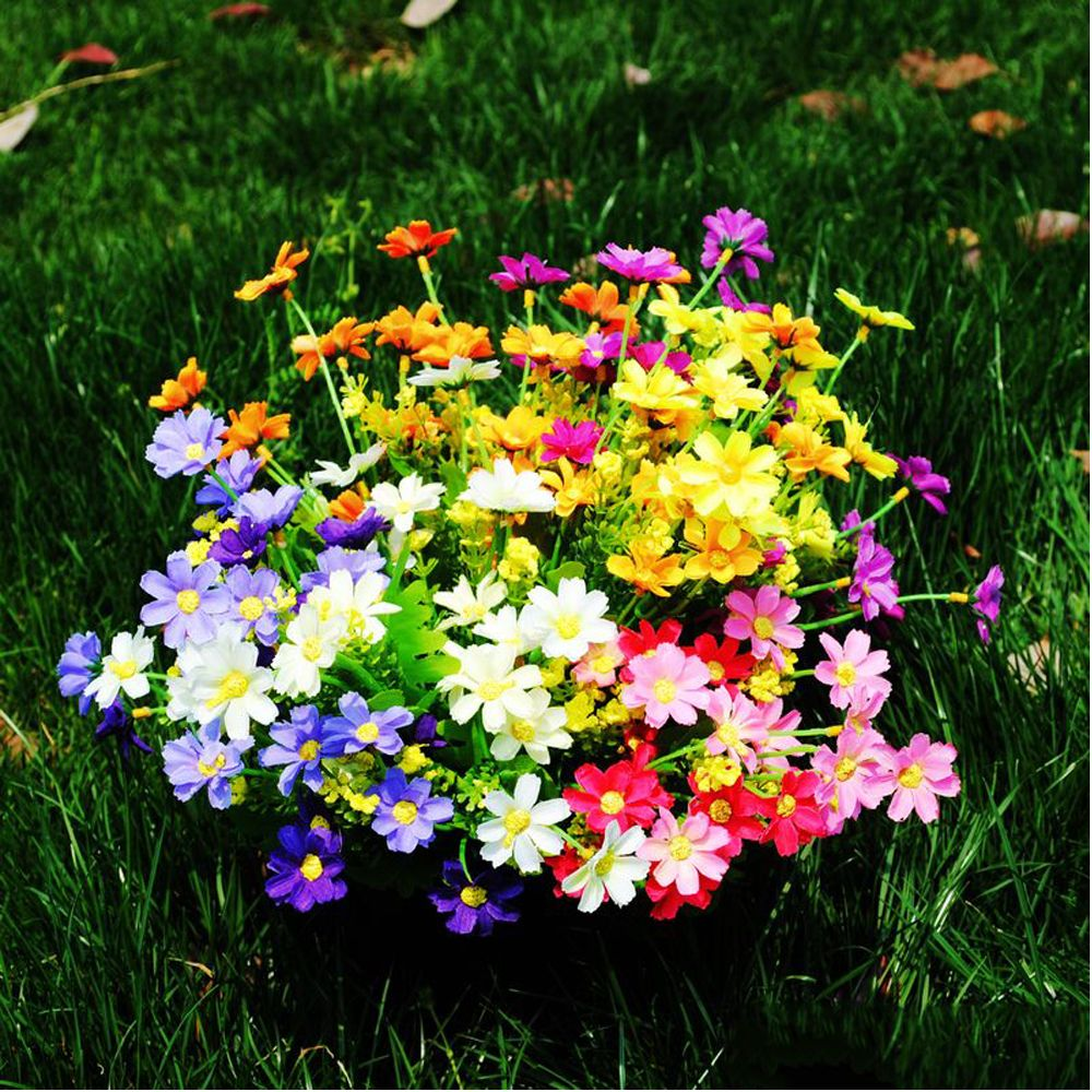 4 Pcs Artificial Flowers Party Wedding Home Flowers For Decoration Silk Mini Daisy Flower