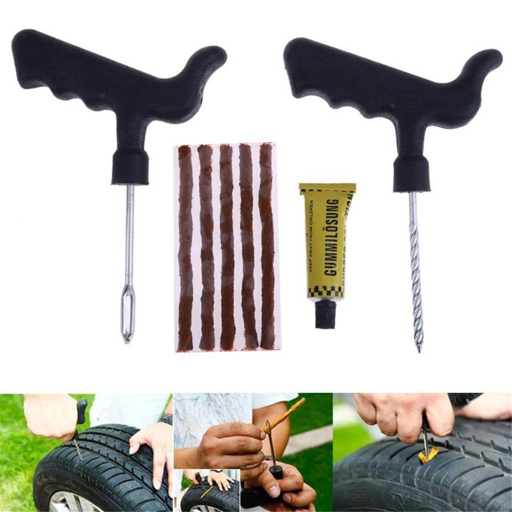 8Pcs Set Car Tire Repair Tool Kit for Tubeless Emergency Tyre Fast Puncture Plug Repair Tools with Glue
