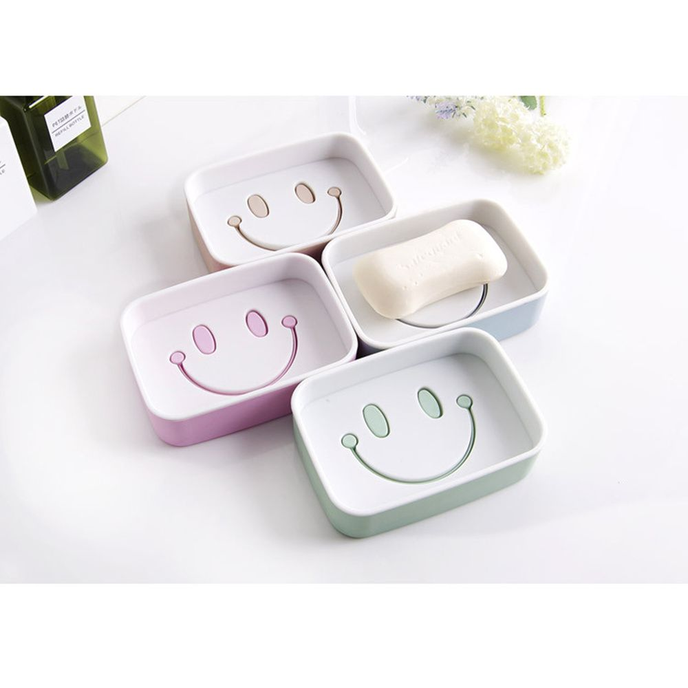 1PCS Plastic Double Layer Soap Box Smile Face dish Bathroom Shower Container Storage