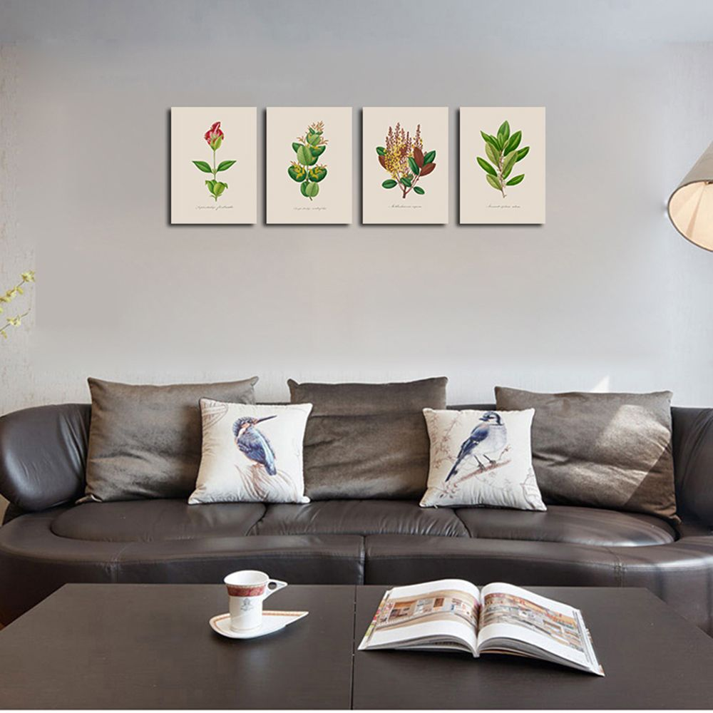 QiaoJiaHuaYuan No Frame Canvas of the Nordic Living Room Sofa Background Four Pieces of Decorative Painting Plant Leaves