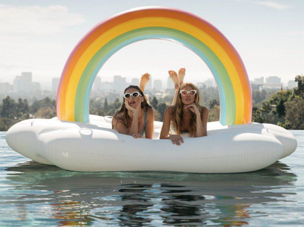 Inflatable Rainbow Bridge Pool Lounger Swimming Floating Float Bed and Electric Charge Pump