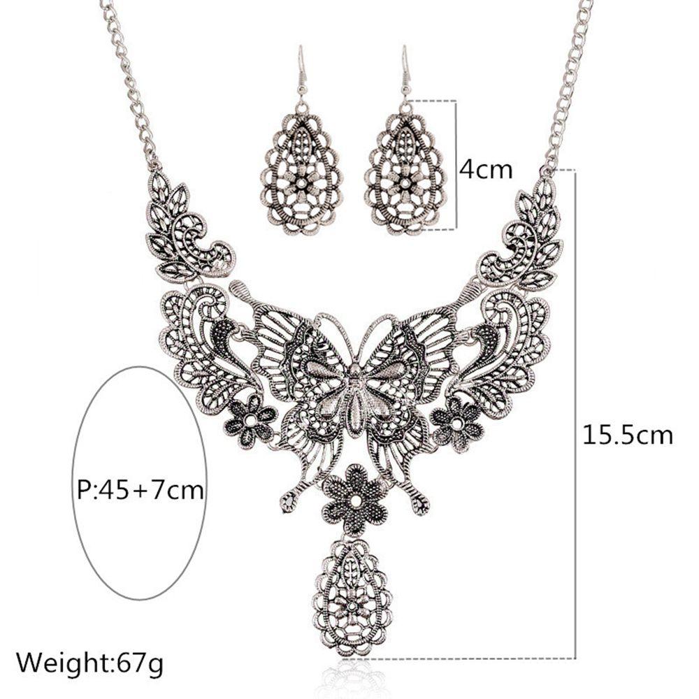 Women Girls Vintage Hollow Butterfly Pendant Necklace Choker Collar Drop Earrings Set Metal Fashion Jewelry Gifts