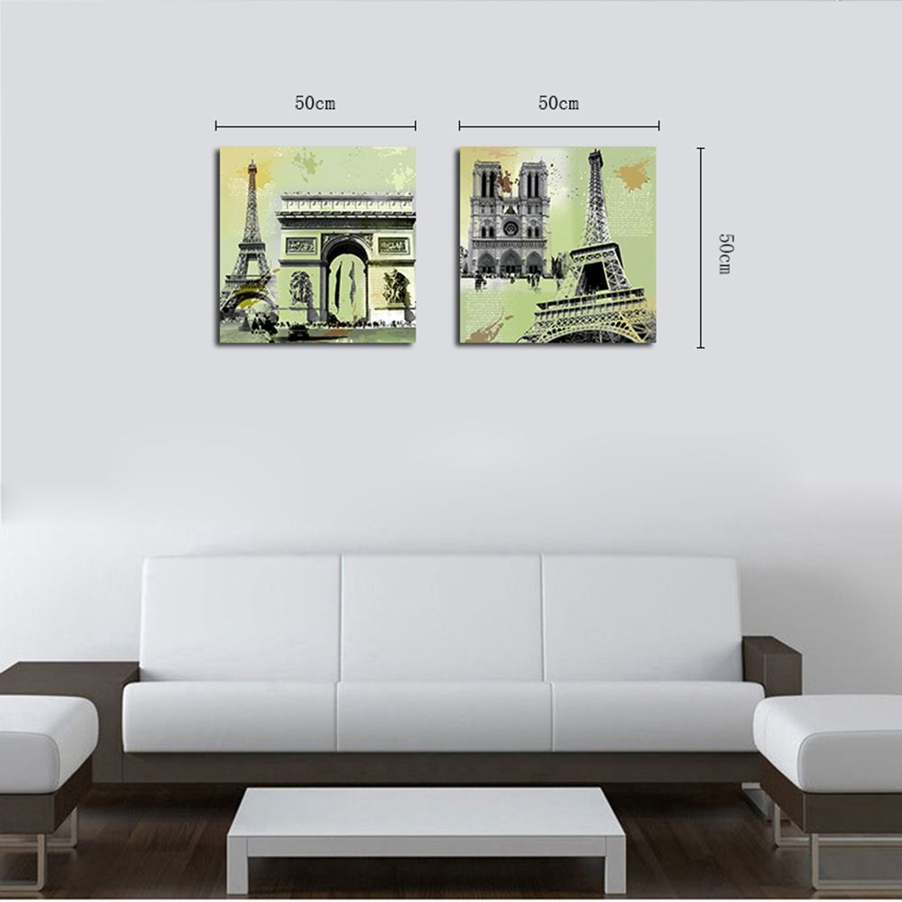 QiaoJiaHuaYuan Unframed Canvas Living Room Sofa Background Double - Link Painting of European and American Architecture