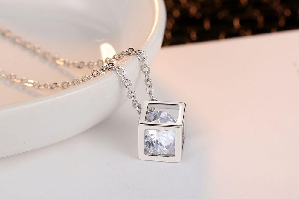 Diamond Square Rubik'S Cube Love Pendant Necklace Earrings 2 Pieces