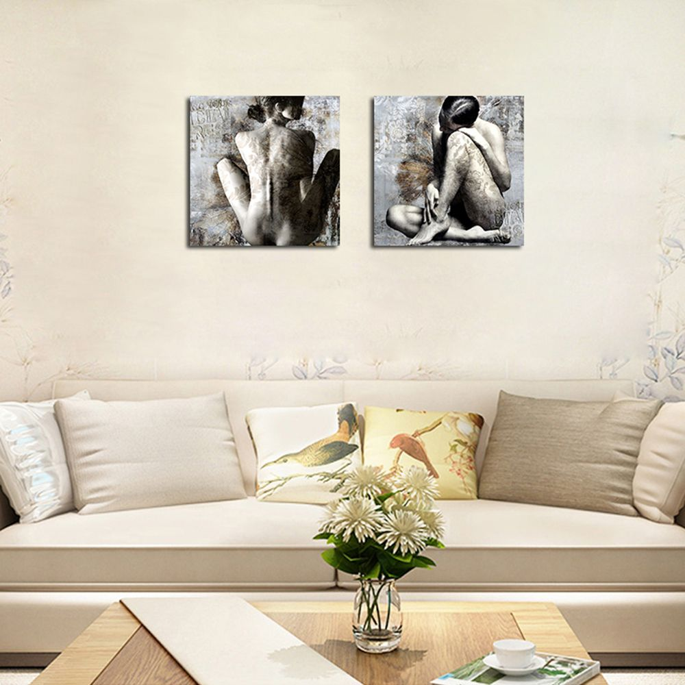 QiaoJiaHuaYuan No Frame Canvas Two Pieces of The Drawing Room Sofa Background Decorative Painting Naked Female Art pictu