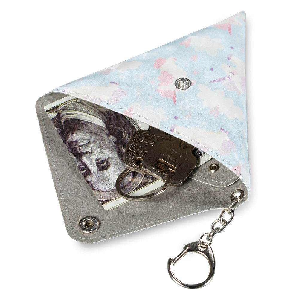 Universal Packet Handmade Mini Coin Small Triangle Headphones Cable Purse With Key Chain PU Leather Small Bag