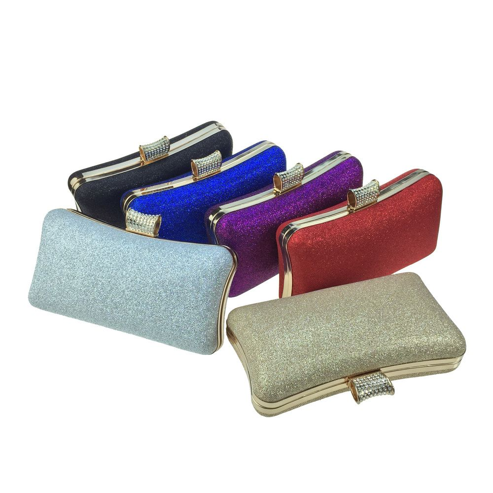 Women Bags Leatherette Evening Bag Buttons Crystal Detailing for Wedding Party