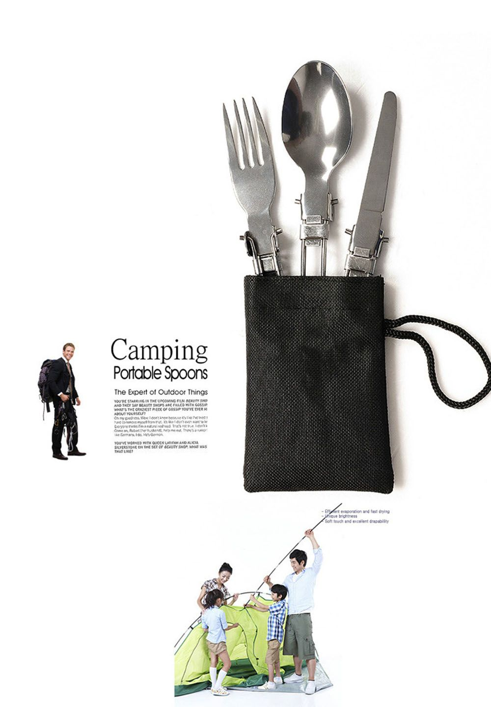 Portable Folding Knife and Fork Spoon Three-Piece