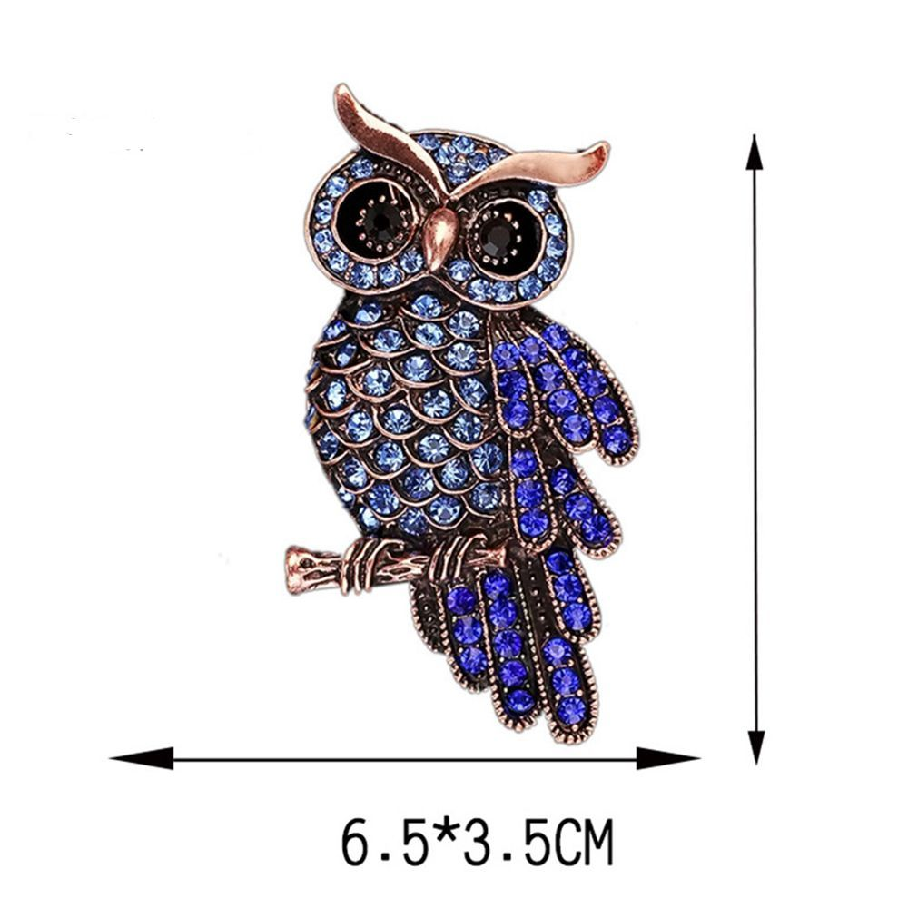 Women Girls Ornament Crystal Rhinestone Owl Brooch Pendants Fine Jewelry Gifts