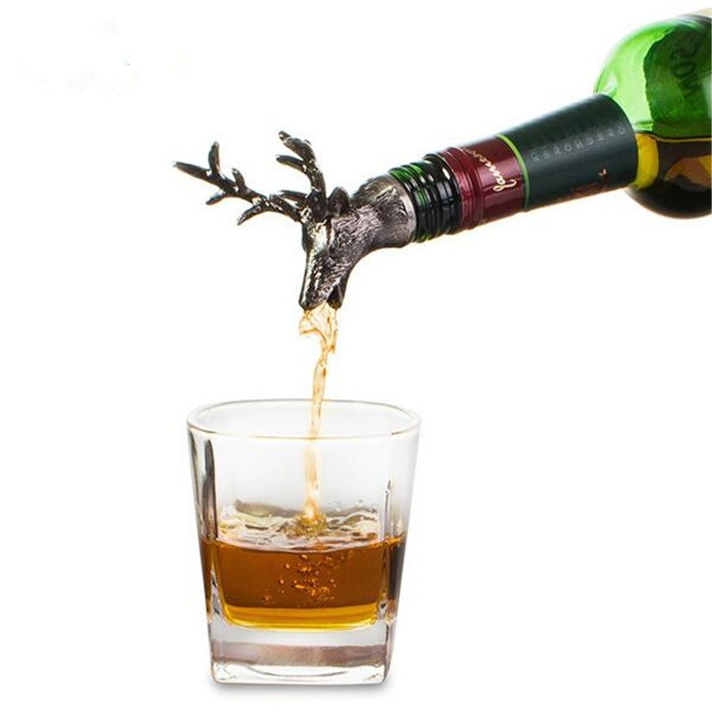 Stainless Steel Deer Stag Head Wine Pourer Unique Wine Bottle Stoppers Wine Aerators Bar Tools