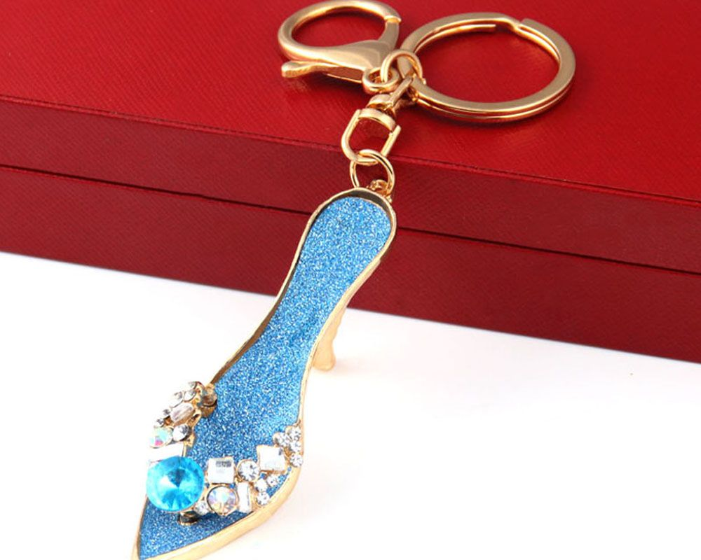 Fashion Jewelry Brand Office Lady High Heeled Shoes Style Keychains Crystal Rhinestal Oil Drop Key Chains