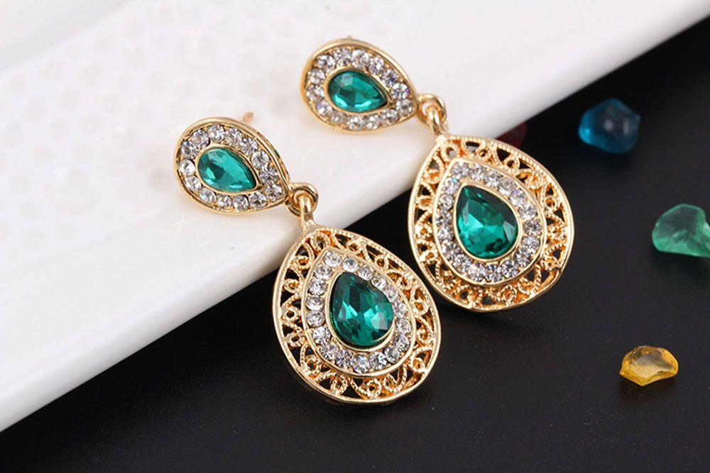 2PCS Necklace Crystal Earrings Water Drop Pendant Jewelry