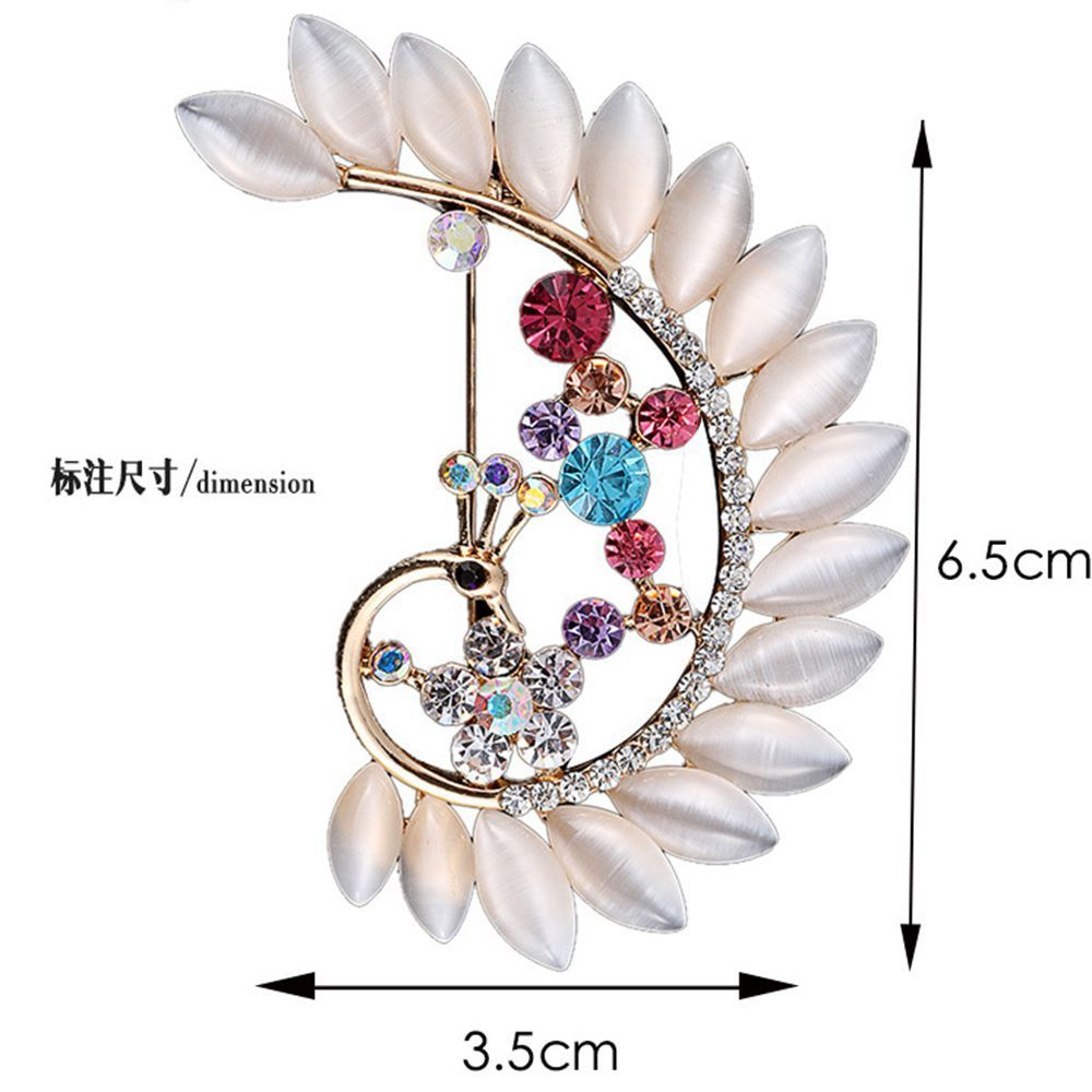 Women Girls Crystal Rhinestone Peacock Pendant Brooch Fine Jewelry Gifts Ornament