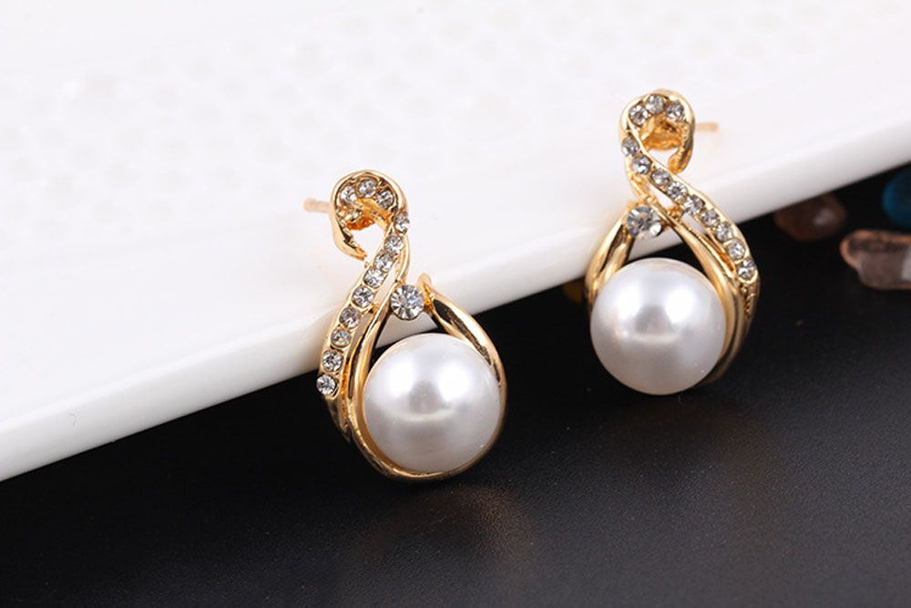 2PCS Ladies Fashion Crystal Diamond Earrings Necklace Jewelry