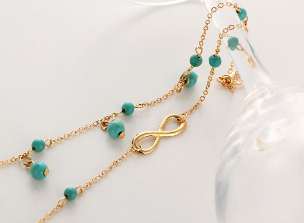 Multi-Layered Fasion Turquoise Anklet