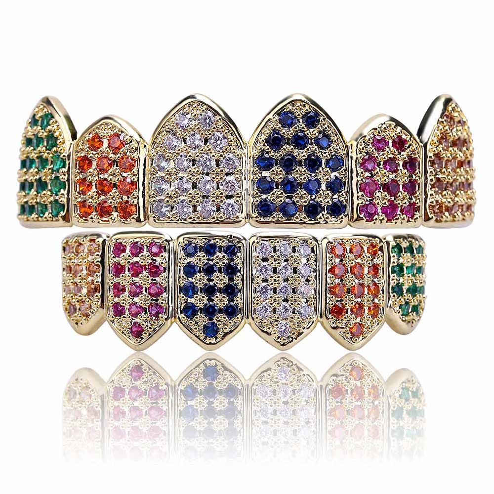 18K Gold Silver Plated Micro Pave CZ Stone Teeth Grillz