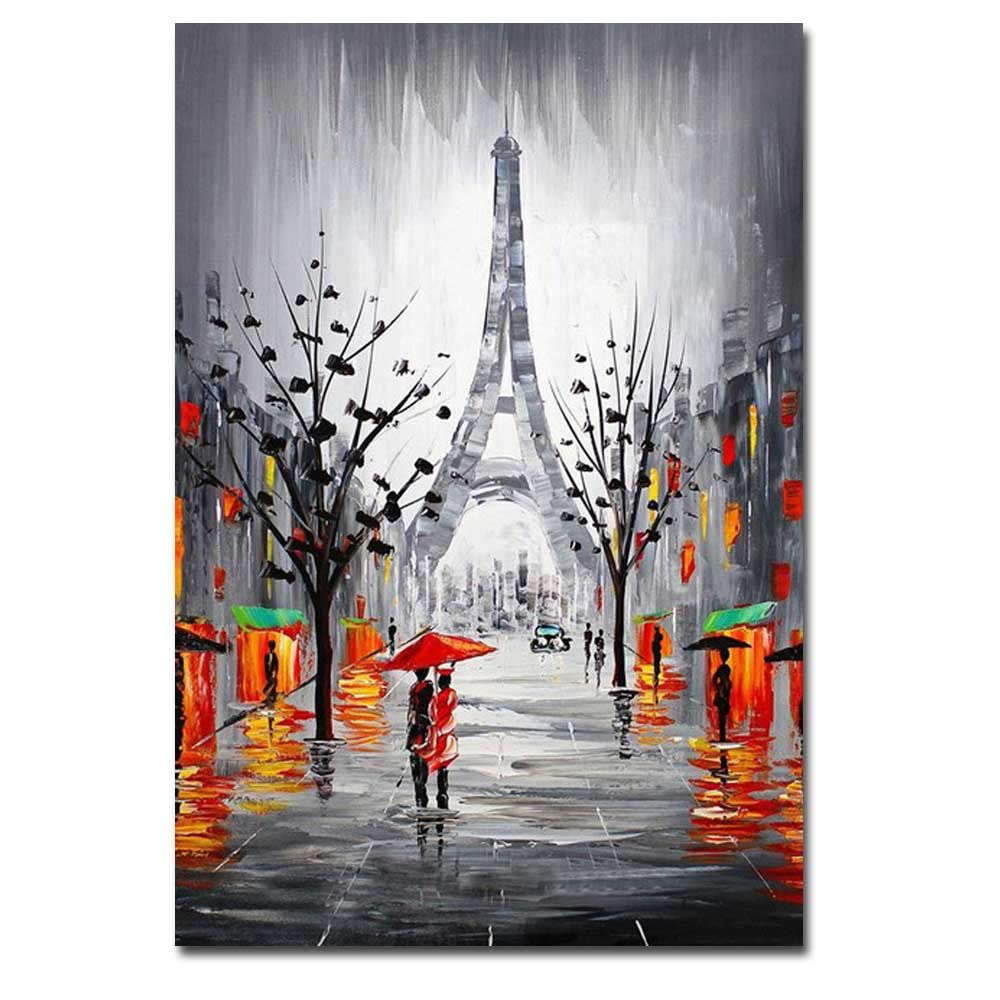 Hand Painted Abstract Effiel Landscape Oil Painting on Canvas Lover in Rainy Streetscpe Wall Picture Painting No Framed