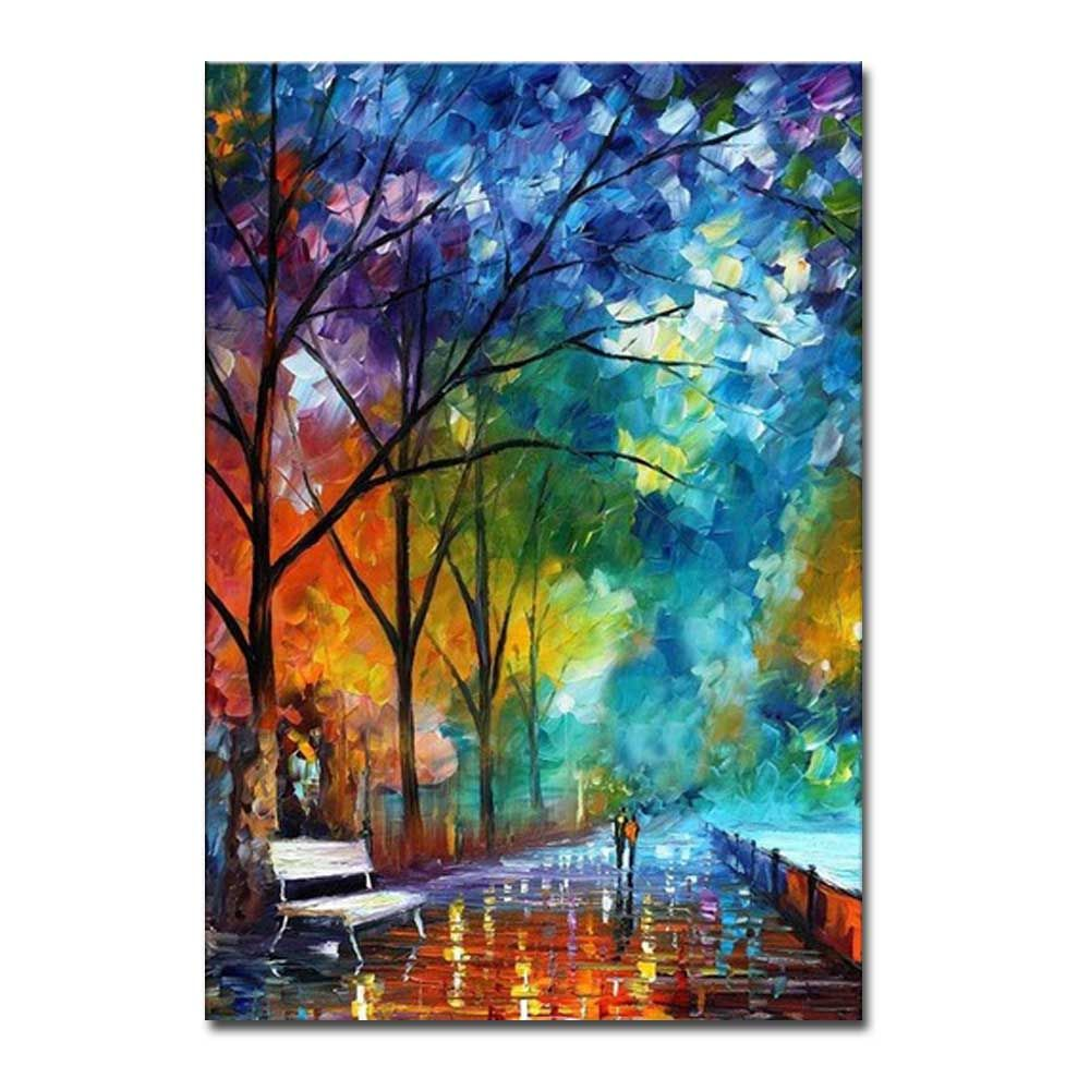 Hand Painted Abstract Palette Knife Streetscape Oil Pianting Lover Walk on Street Wall Pciture Frameless Canvas Painting