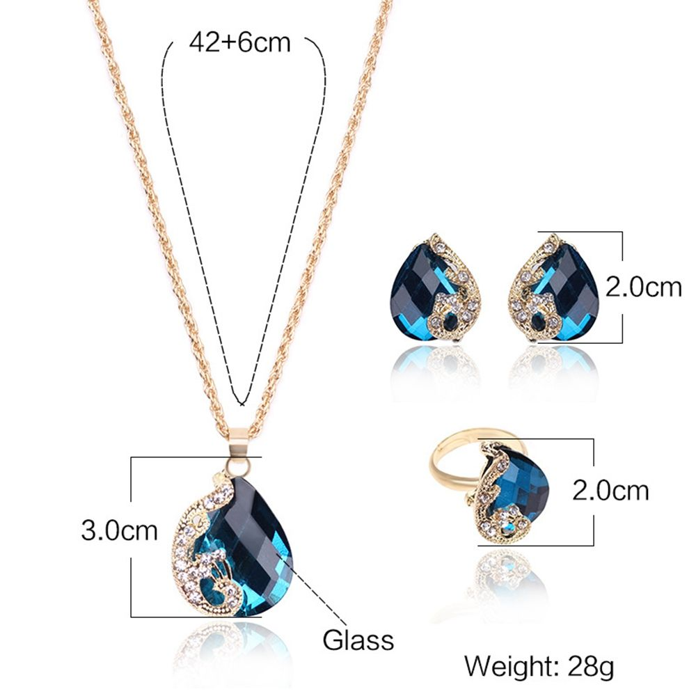 Women Girls Jewelry Set Crystal Rhinestone Pendant Necklace Earrings and Ring Trendy Ornament Gifts