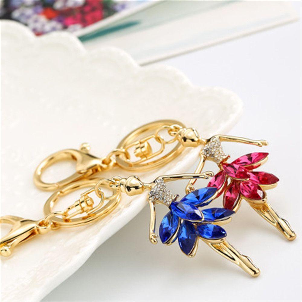 Cute Doll Angel Wings Crystal Chain Rhinestone Keyring Women Bag Charm Keychain Car Ring Pendant