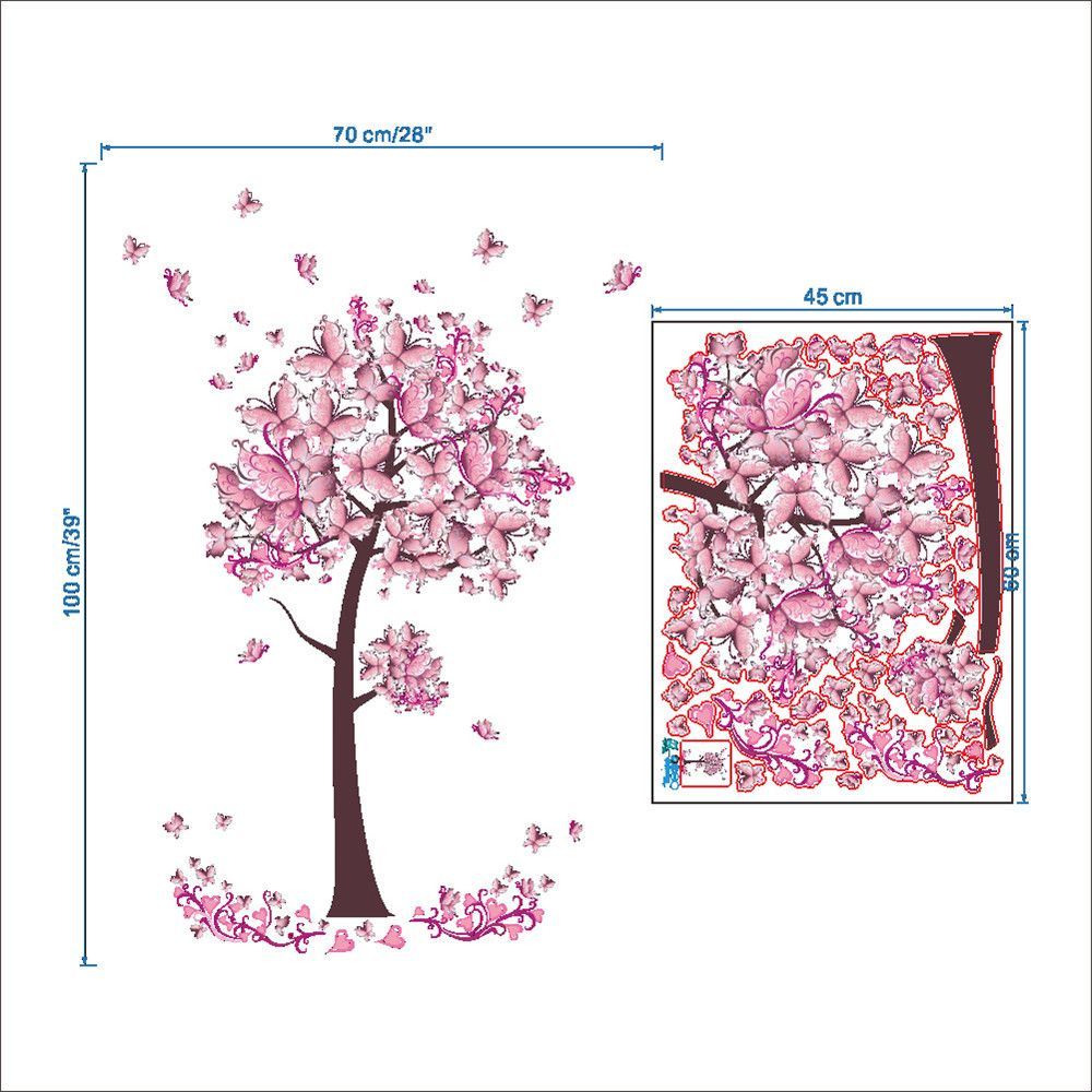 Pink Butterfly Flower Tree Wall Sticker  For Home Room Decoration Waterproof Removable Decals