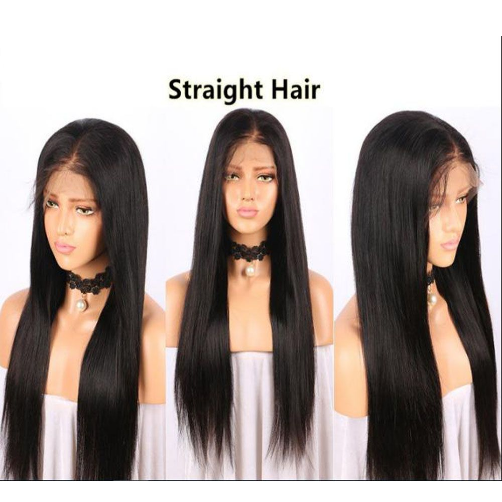 Modern Fairy Virgin Human Hair Front Lace Wig Straight Free Part