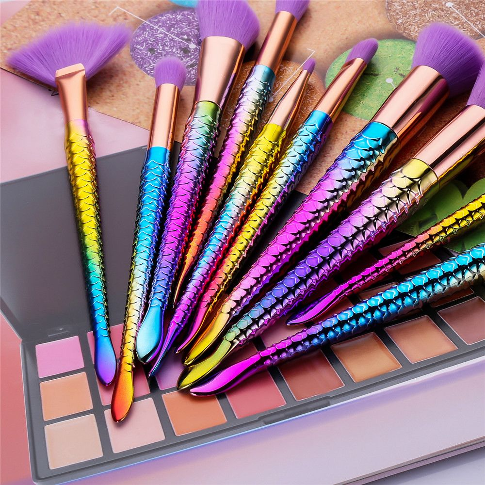 Colorful Spiral Purple Hair Mermaid Makeup Brush 10PCS