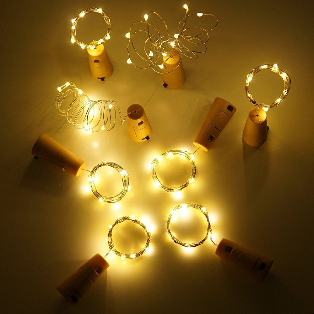 BRELONG 15LED Wine Stopper Brass Lights Decorative Light String