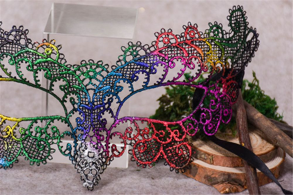 Sexy Halloween Colorful Lace Goggles Nightclub Fashion Queen Female Sex Eye Masks for Masquerade Party Ball Mask