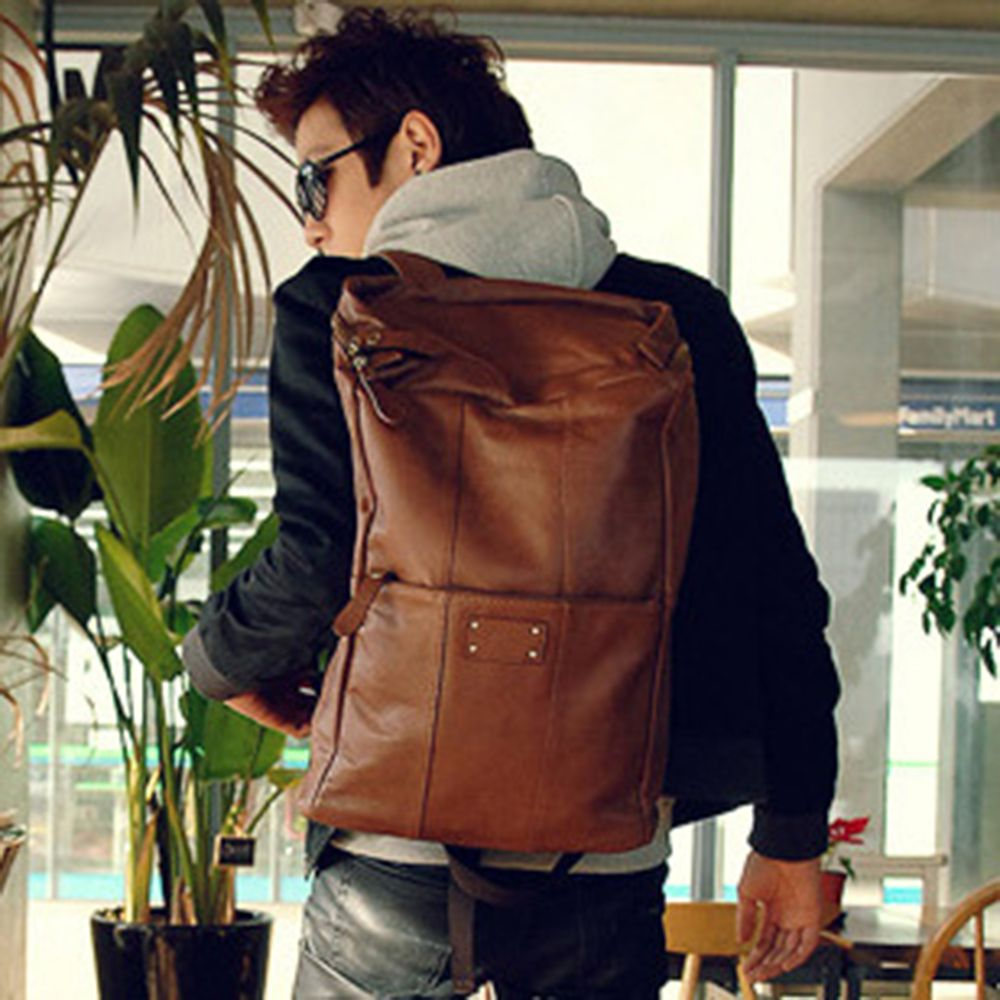 1PC Men'S Backpack  Fashion PU Leather College Bags