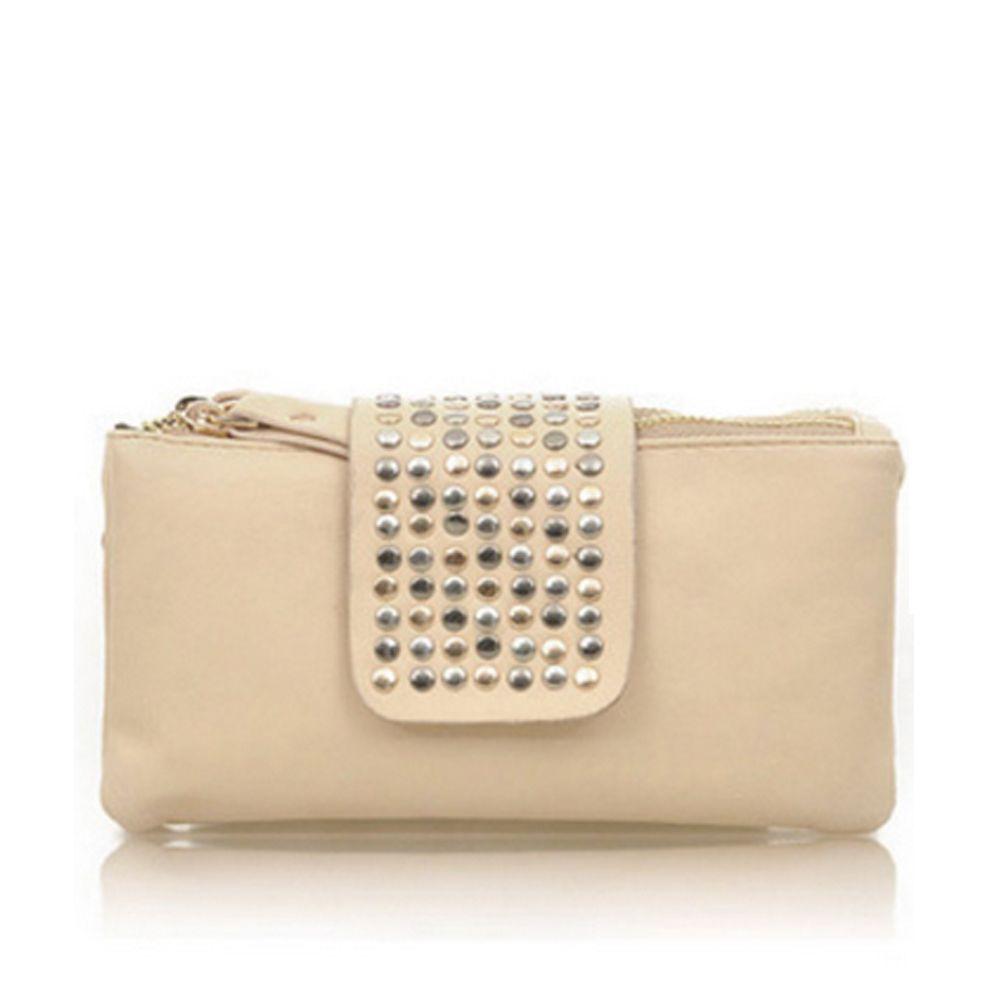Women's Clutch Bag Simple Solid Rivets Rectangle Purse