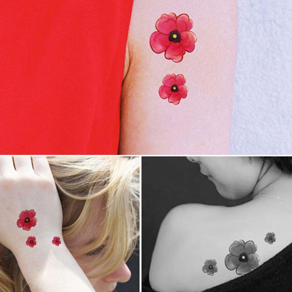 4Pcs Women's Tattoo Stickers Fresh Style Chic Color Block Tattoo Accessory