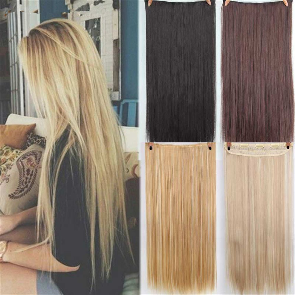 CHICSHE HAIR 23 inch Long Straight Women Clip in Hair Extensions Black Brown High Tempreture Synthetic Hairpiece