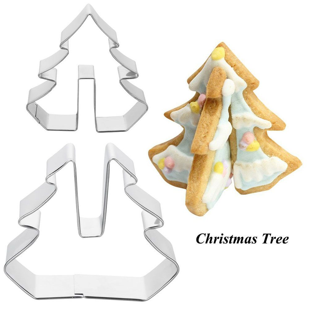 8 PCS Cookie Biscuit Cutters Set Baking Tools Stainless Steel Cake Mold Including Snowman Sledge and Christmas Tree