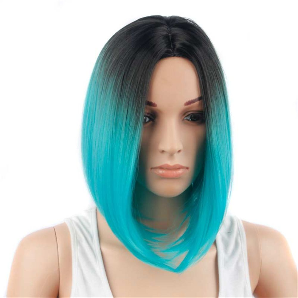 CHICSHE Ombre Blue Wig Synthetic Hair Short Bob Straight Hair