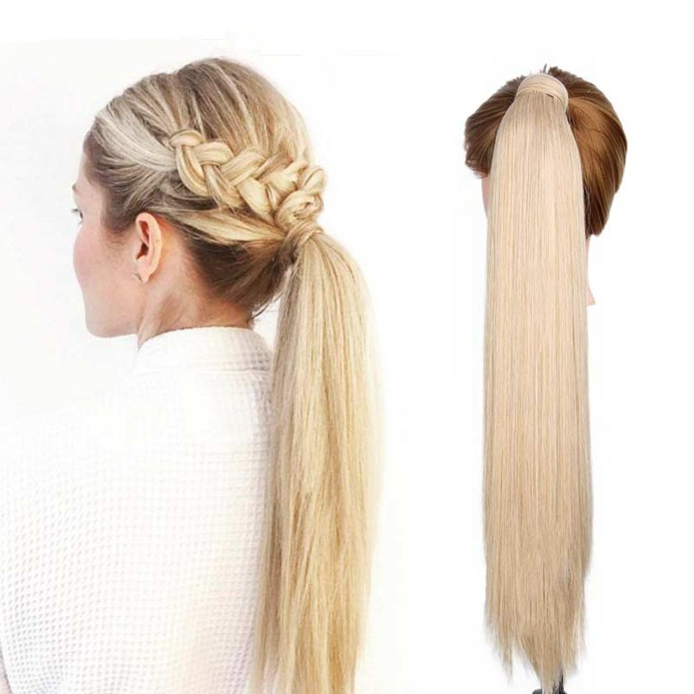 CHICSHE 16 Colors Available High Temperature Fiber Synthetic Hair Wraparound Ponytail Extensions for Women