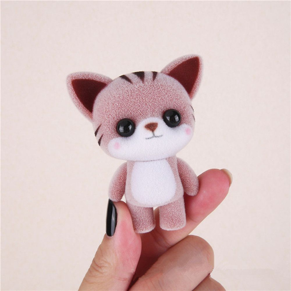 Mini Lovely Flocking Coffee Cat Doll Furnishing Articles Kids Gift