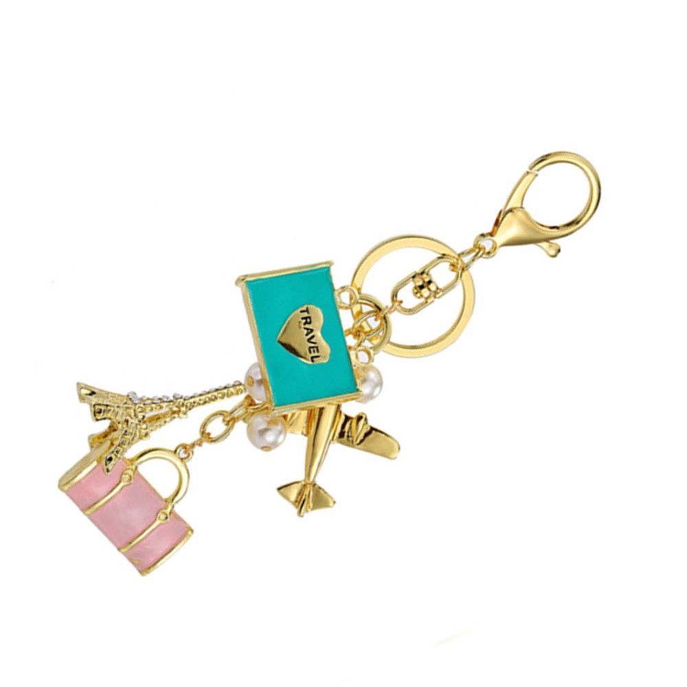 Inlay Pearl Rhinestone Key Chain for Womens Bag Cellphone Car Pendant