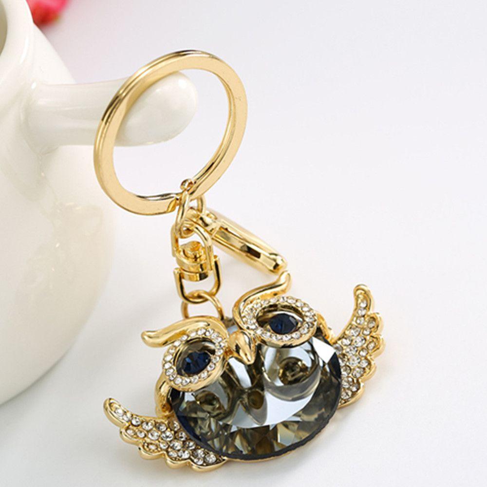 Diamondo Owl Shape Keychains Women Fashion Rhinestone Bag Pendant Car Key Accessories