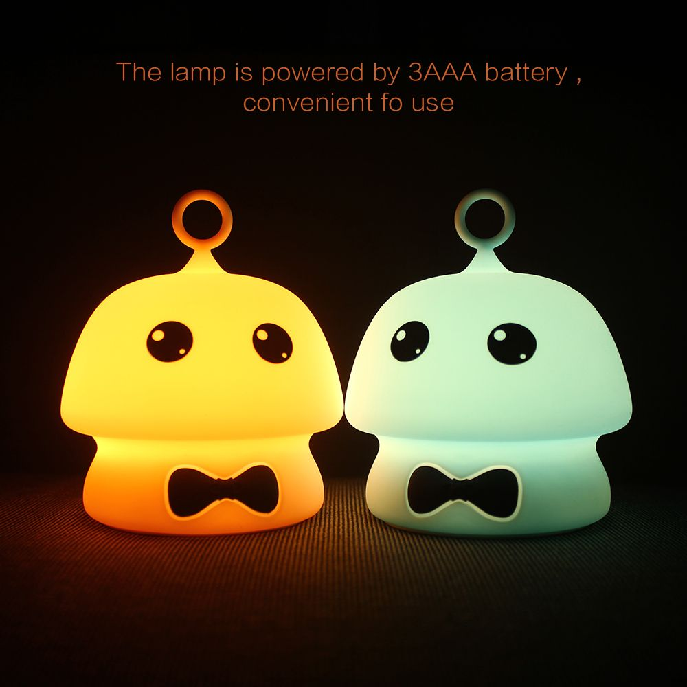 USB Charging Colorful Mushroom Silica Gel Pink AND Blue Cartoon Night Light LED On The Bedside Lamp